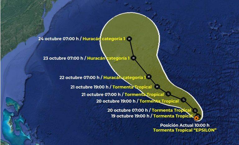 Prevén que la tormenta Epsilon alcance fuerza de huracán en EU